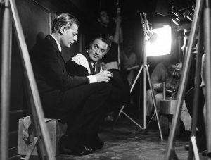Marcello Mastroianni i Federico Fellini na planie filmu